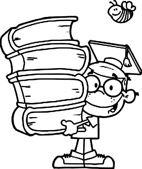 Books, : Scholar Bring Stack of Book Coloring Page