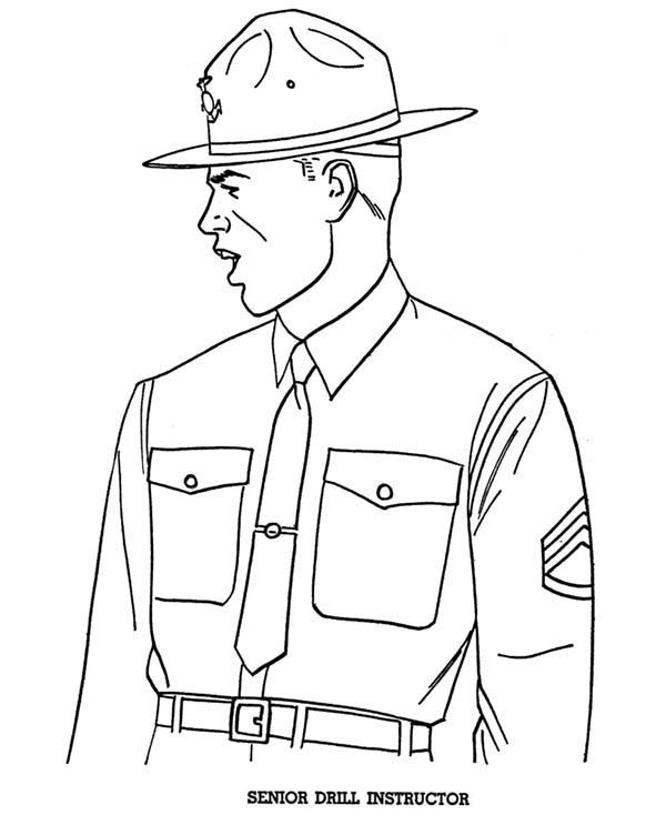 Armed Forces Day, : Senior Drill Instructor in Armed Forces Day Coloring Page