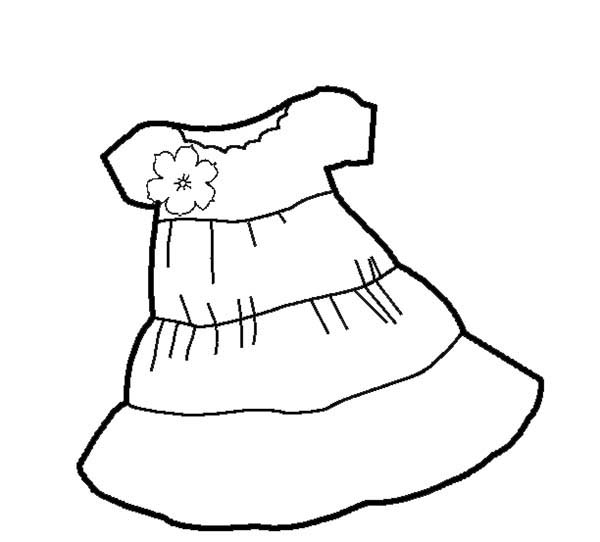 Dress, : Short Sleeves Shift Dress Coloring Page