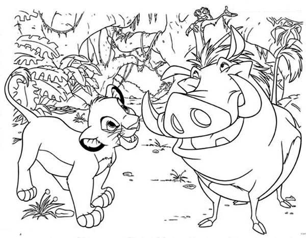 Timon and Pumbaa, : Simba Having Fun with Timon and Pumbaa Coloring Page