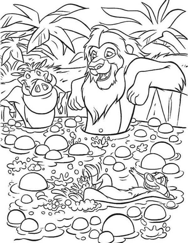 Timon and Pumbaa, : Simba and Timon and Pumbaa Enjoying Mud Bath Coloring Page