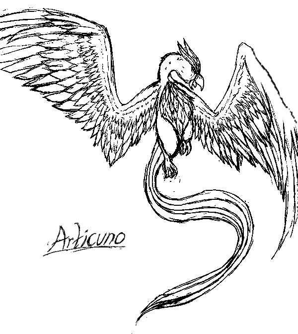 Skecth of Articuno Bird Coloring Page | Coloring Sun