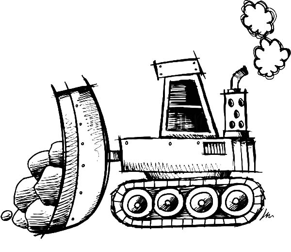 Bulldozer, : Sketch of Bulldozer Coloring Page
