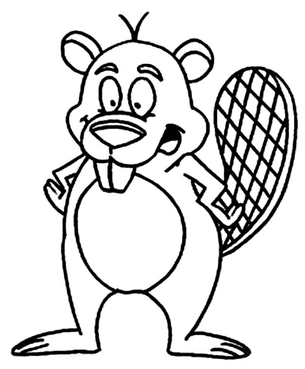 Beaver, : Smiling Beaver Teeth Coloring Page