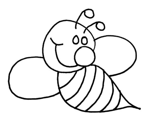 Bugs, : Smiling Bee in Species of Bugs Coloring Page