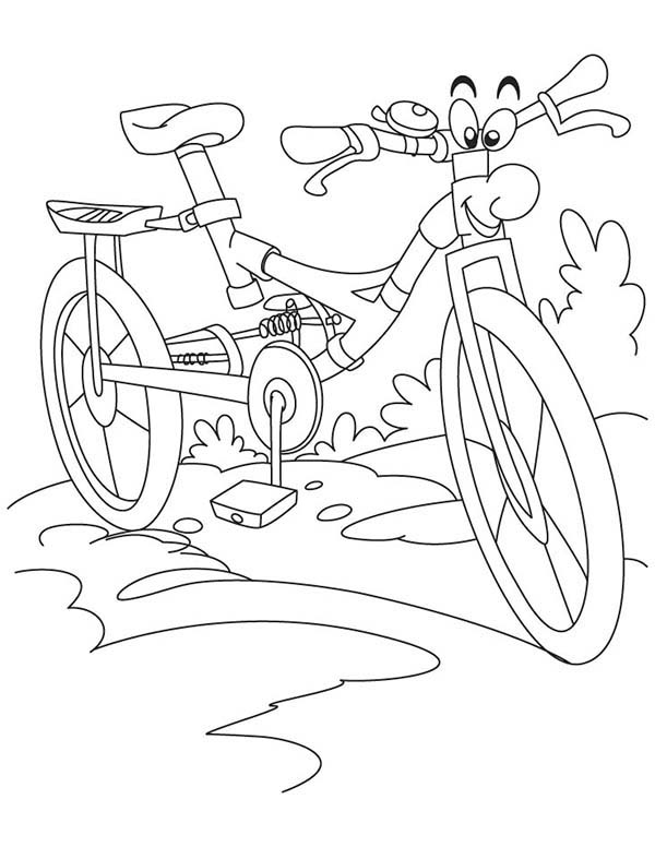 Bicycle, : Smiling Bicycle Coloring Page