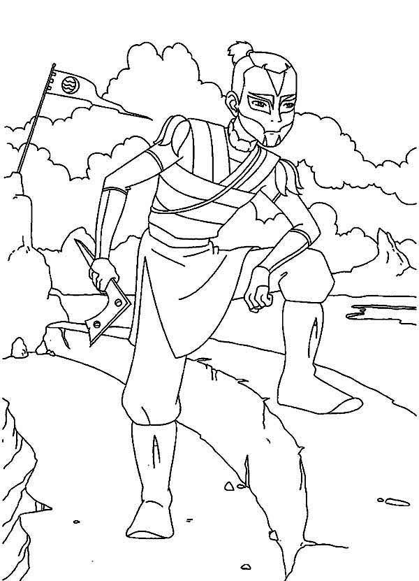 Avatar the Last Air Bender, : Sokka and His Weapon Boomerang in Avatar the Last Air Bender Coloring Page