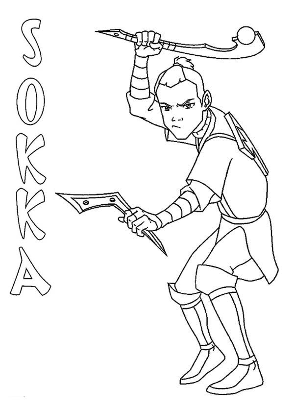 Avatar the Last Air Bender, : Sokka from Avatar the Last Air Bender Coloring Page