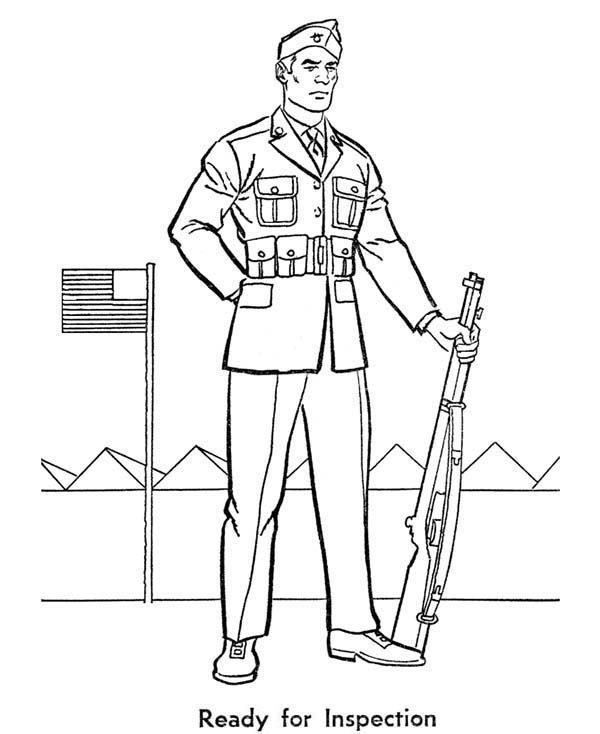 Armed Forces Day, : Soldier is Ready for Inspection in Armed Forces Day Coloring Page