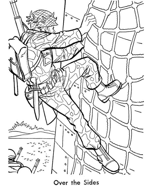 Armed Forces Day, : Soldier is Training Hard in Armed Forces Day Coloring Page