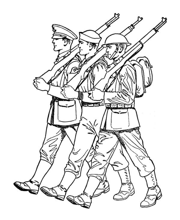Armed Forces Day, : Soldiers Parade in Armed Forces Day Coloring Page