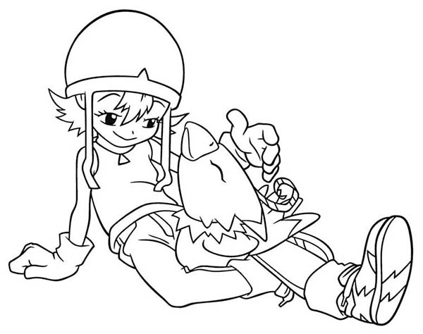 Digimon, : Sora Takenouchi and Her Digimon Biyomon Coloring Page