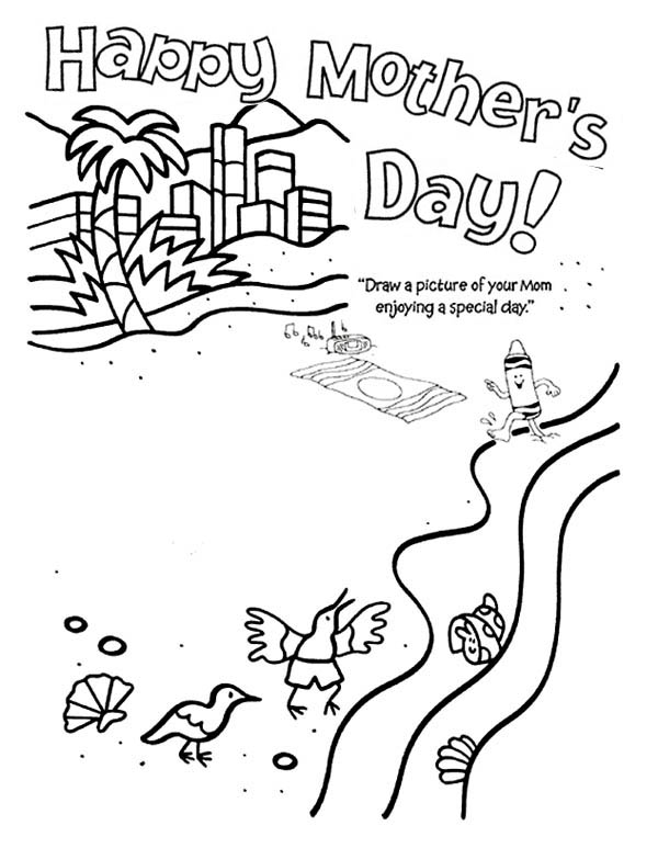 Mothers Day, : Special Day fo Mommy is Mothers Day Coloring Page