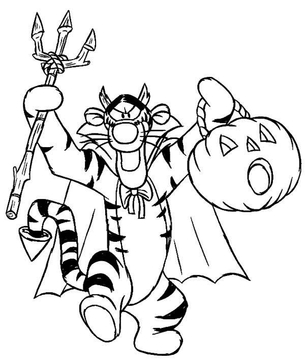 Tigger, : Spooky Halloween Tigger Coloring Page