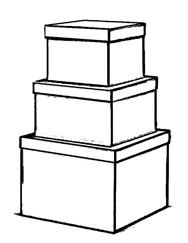 Box, : Stack of Box Coloring Page