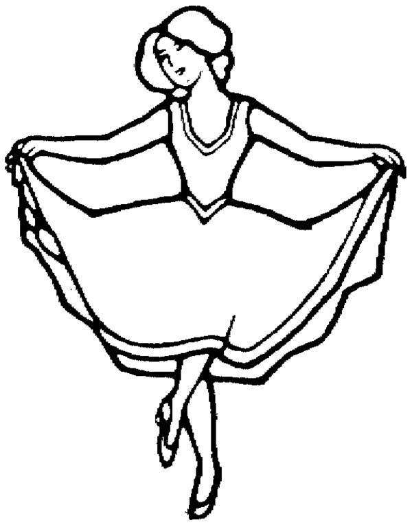 Dance, : Stage Performer Dance Coloring Page