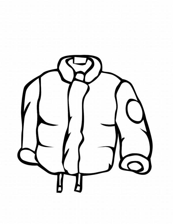 Winter Clothing, : Stay Warm with This Jacket in Winter Clothing Coloring Page