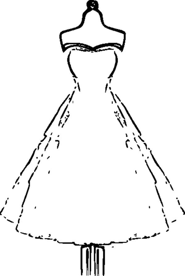 Dress, : Strapless Wedding Dress Coloring Page