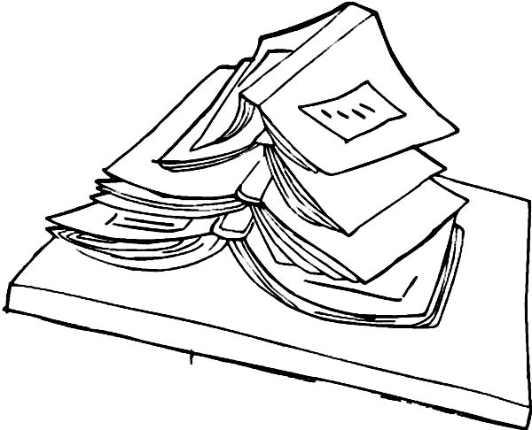 Books, : Student Text Book Coloring Page