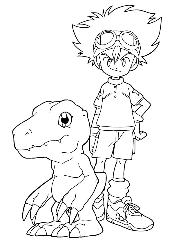Digimon, : Taichi Kamiya Partner with Digimon Agumon Coloring Page