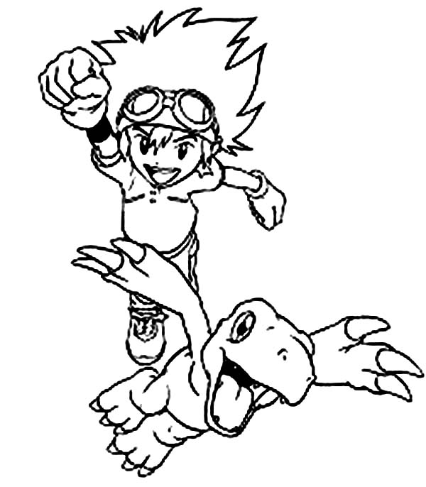 Digimon, : Taichi Kamiya in Action with His Digimon Agumon Coloring Page