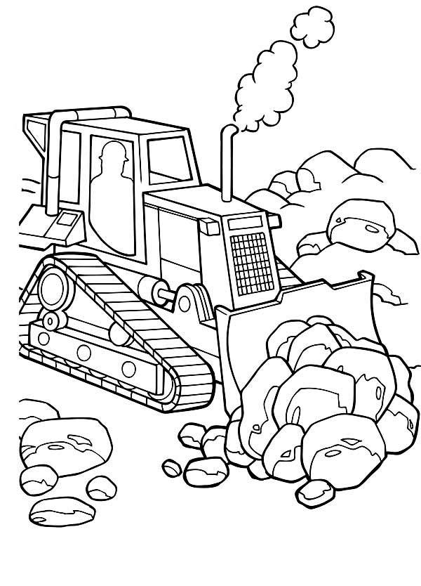 Bulldozer, : Take Away Big Rocks with Bulldozer Coloring Page