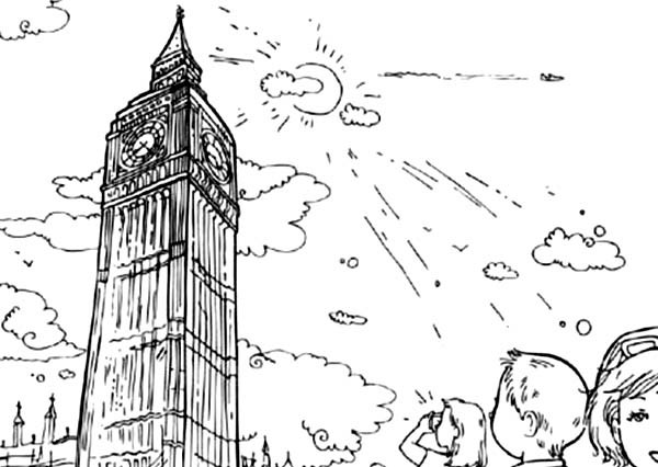 Big Ben, : Take Big Ben Picture Coloring Page