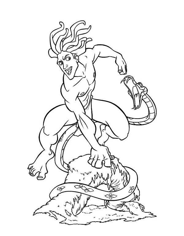 Tarzan, : Tarzan Fight Venomous Snake Coloring Page