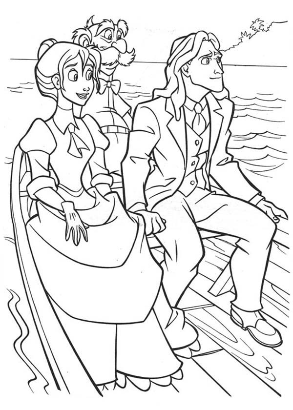 Tarzan and Jane Sail on Boat with Archimedes Coloring Page ...