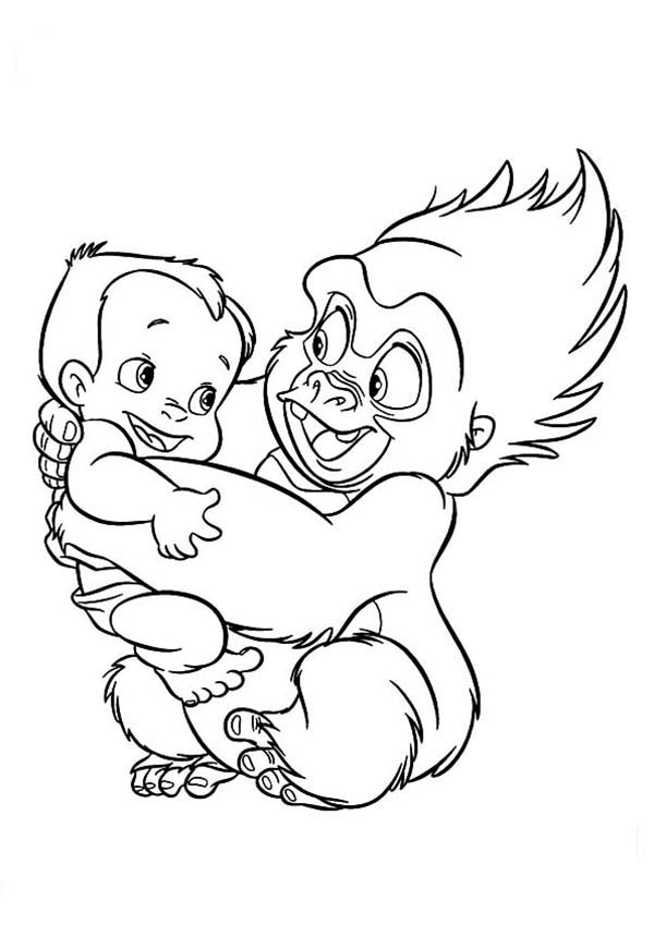 Tarzan, : Tarzan and Terk Become Best Friend Since They Were Child Coloring Page