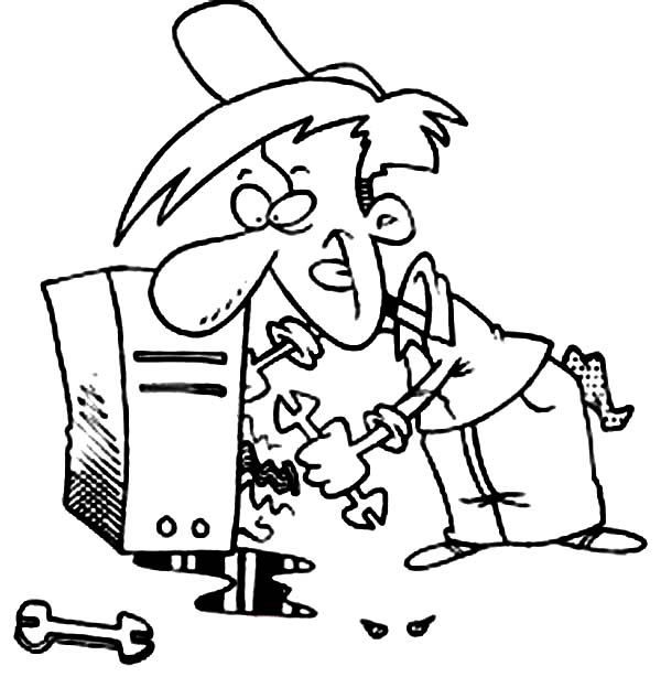 Computer, : Technician Fixing My Computer Coloring Page