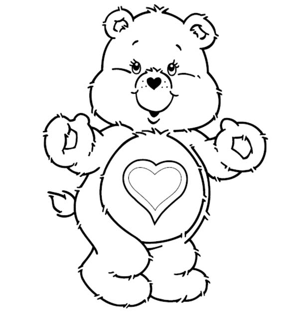 Care Bear, : Tenderheart Bear is Excited in Care Bear Coloring Page
