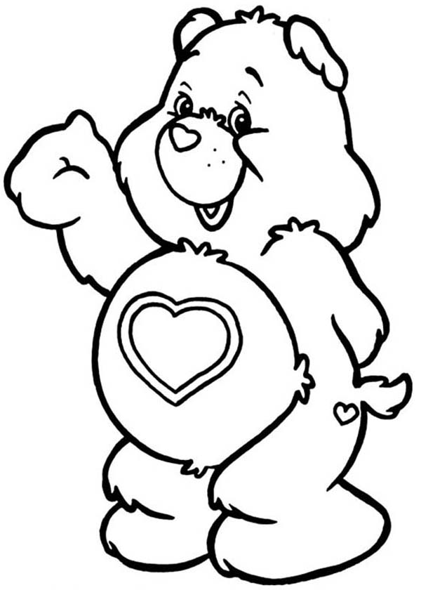 Care Bear, : Tenderheart Greeting Us in Care Bear Coloring Page