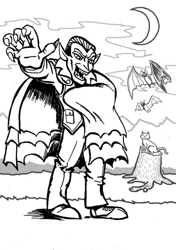 Vampire, : Terrifying Vampire Coloring Page