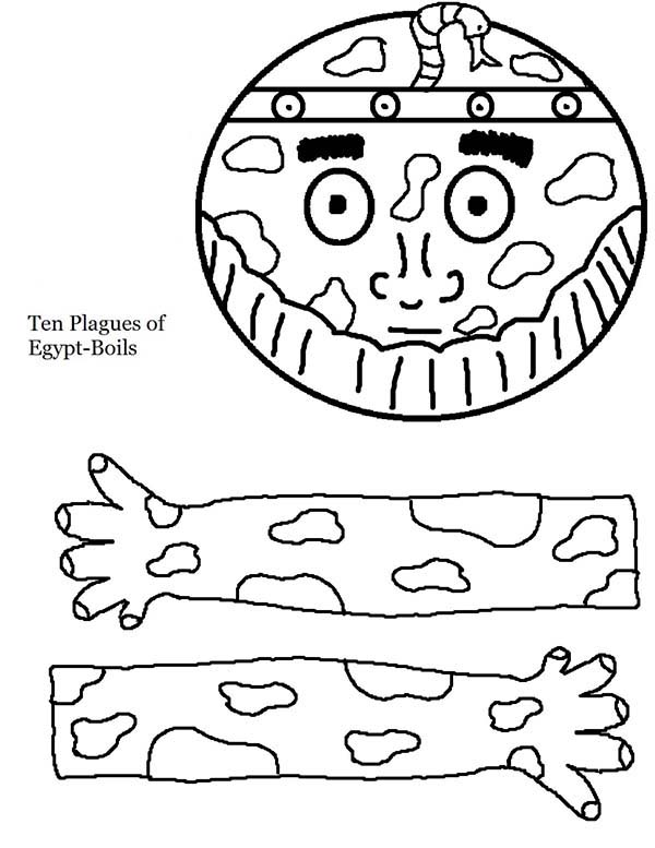 10 Plagues of Egypt, : The 10 Plagues of Egypt Egyptian Boils Template Coloring Page