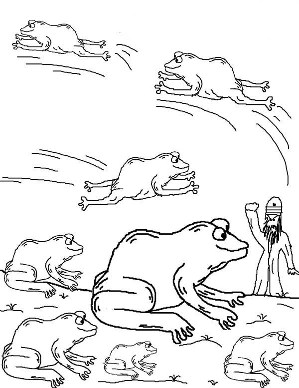 Frog plague coloring page sketch coloring page for 10 plagues coloring pages