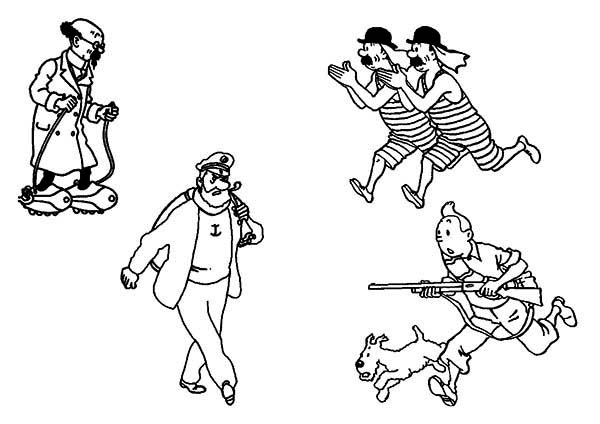 Tintin, : The Adventures of Tintin Coloring Page