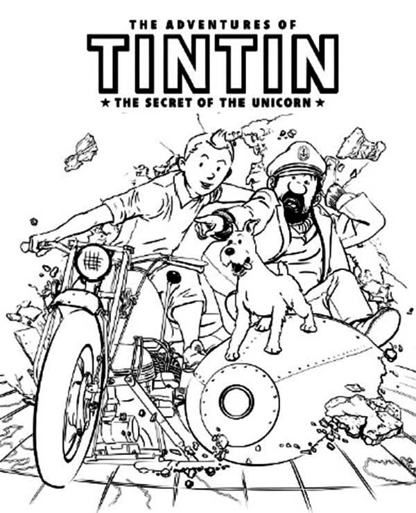Tintin, : The Adventures of Tintin The Secret of the Unicon Coloring Page