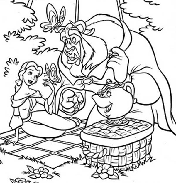 Belle, : The Beast and Belle Picnic in Garden Coloring Pages