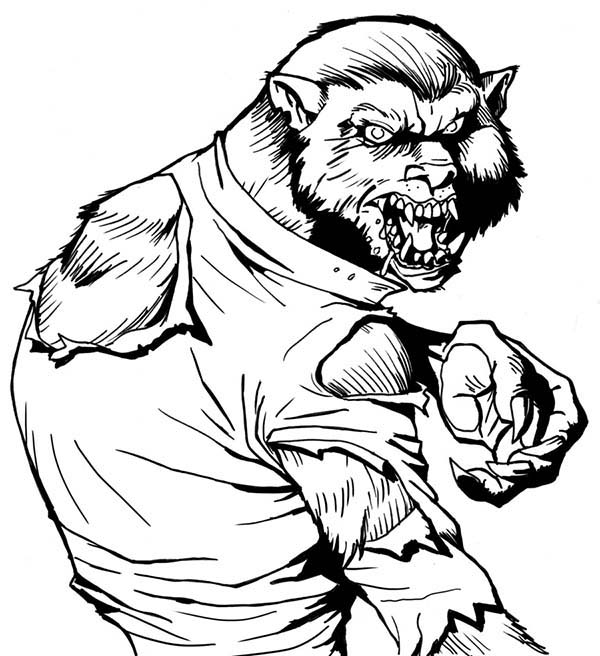 Werewolf, : The Hideous Werewolf Coloring Page