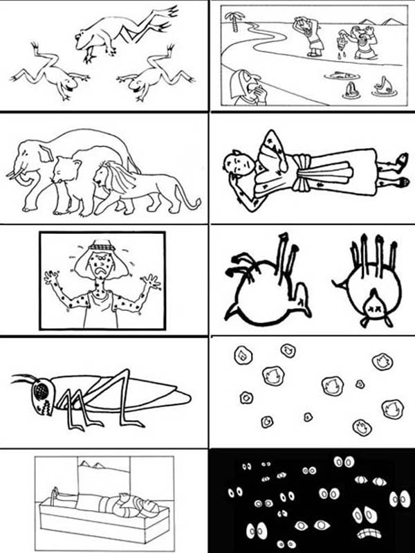 10 Plagues of Egypt, : The Picture of 10 Plagues of Egypt Coloring Page