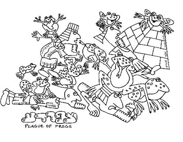 10 Plagues of Egypt, : The River Shall Bring Forth Frogs Abundantly in 10 Plagues of Egypt Coloring Page