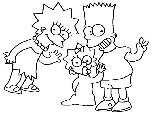 The Simpsons, : The Simpsons Brothers and Sisters in the Simpsons Coloring Page