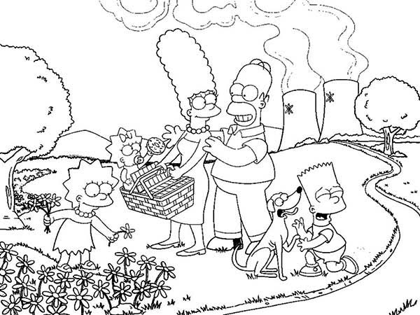 The Simpsons Family Vacation Coloring Page | Coloring Sun