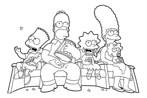 The Simpsons, : The Simpsons Family Watching TV Coloring Page