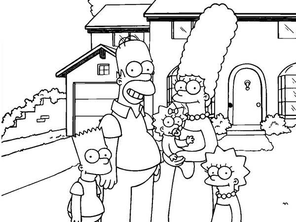The Simpsons in Front of Their House Coloring Page | Coloring Sun