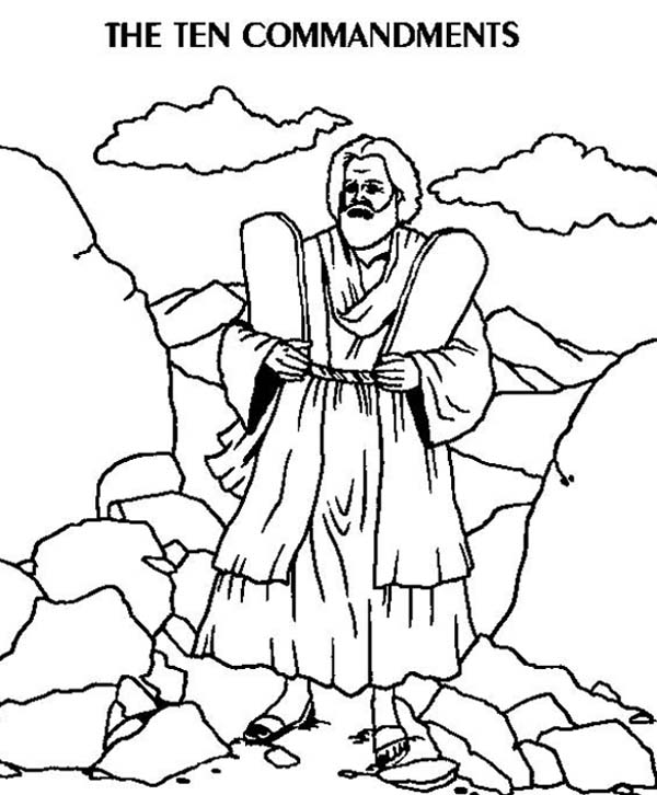 Ten Commandments, : The Two Stone Tablets of Ten Commandments Coloring Page