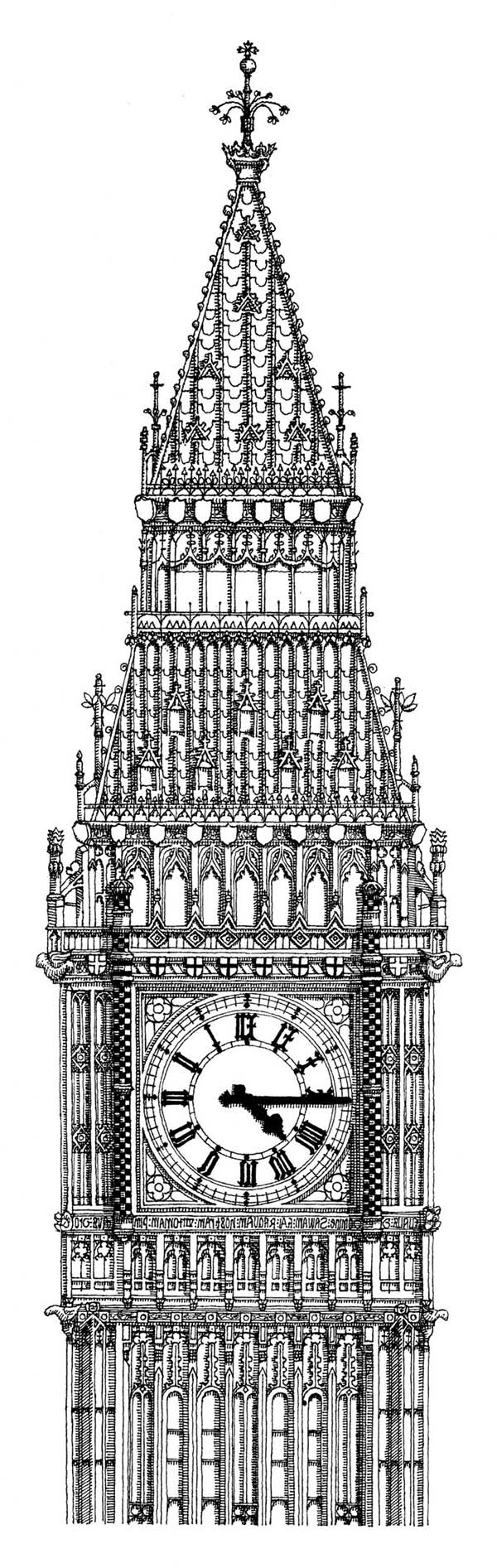 Big Ben, : The bell Big Ben is Housed within the Elizabeth Tower Coloring Page