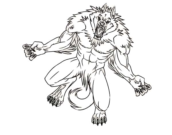 Werewolf, : This Werewolf is so Angry Coloring Page