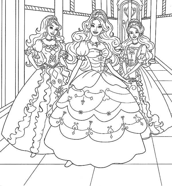 Barbie Doll, : Three Barbie Doll Posing Coloring Page